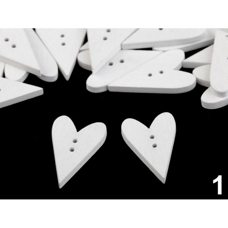 Guzik derwniany - serce 01- biały