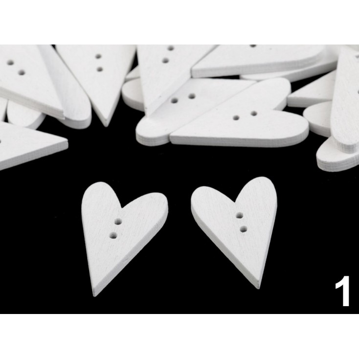 Wooden button - heart 01- white