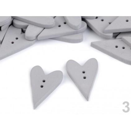Guzik derwniany - serce 01- szary
