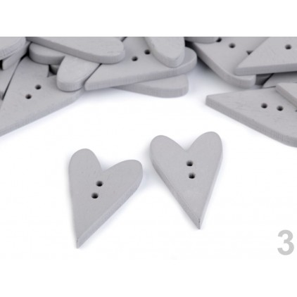 Wooden button - heart 01- grey