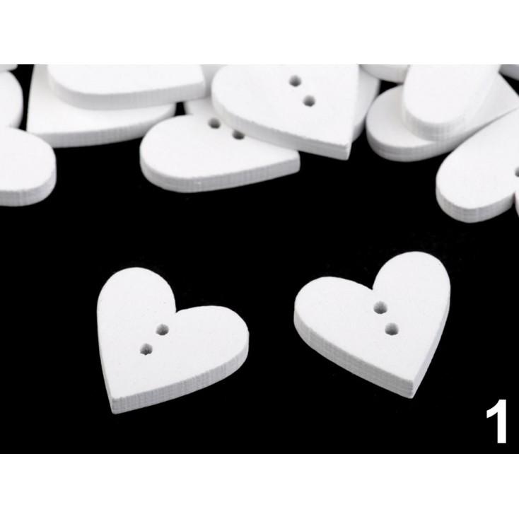 Wooden button - heart 02- white