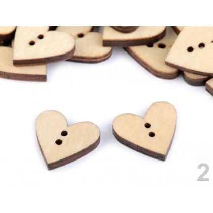 Guzik derwniany - serce 02- naturalny - drewno