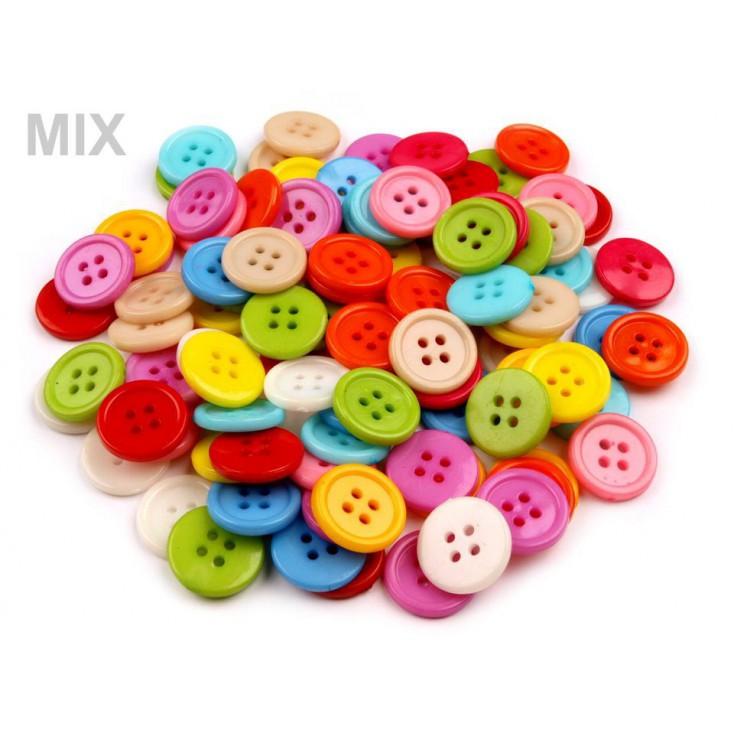 Guziki plastikowe - mix kolorów 02 - 12 sztuk