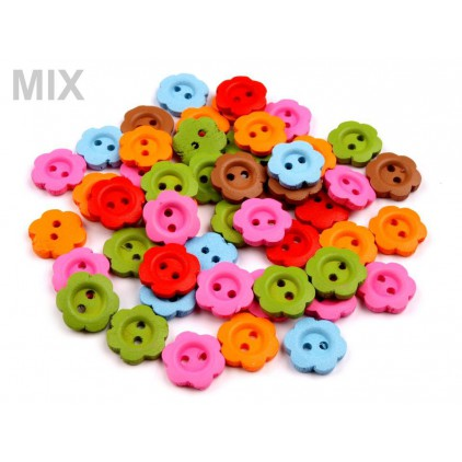 Wooden buttons -flower - mix of colors 03 - 10 pieces