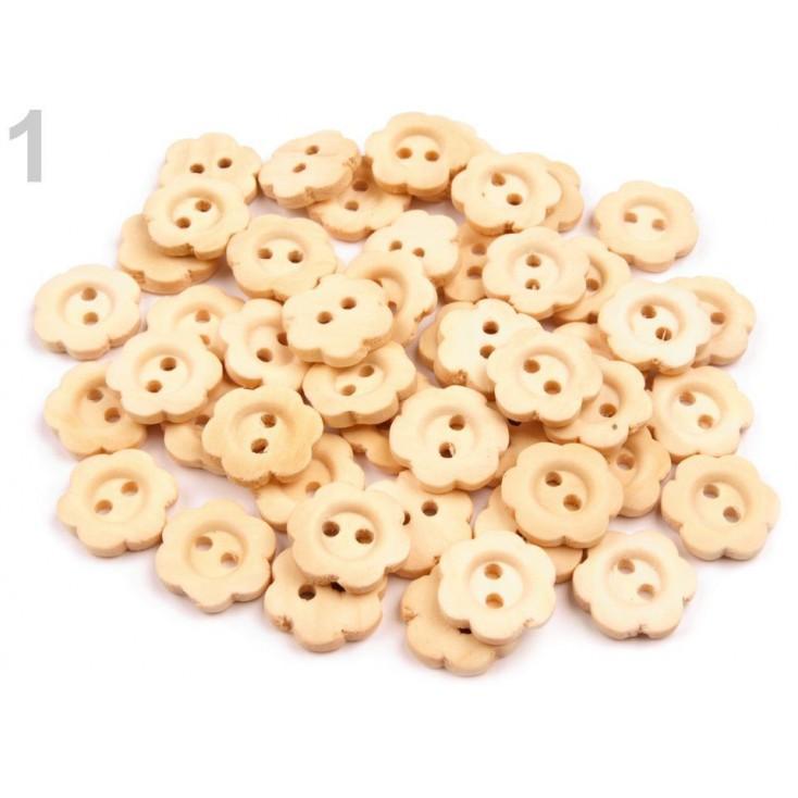 Wooden buttons -flower - natural - 5 pieces