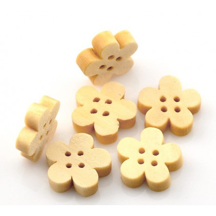 Wooden buttons 02 -flower - natural - 5  pieces