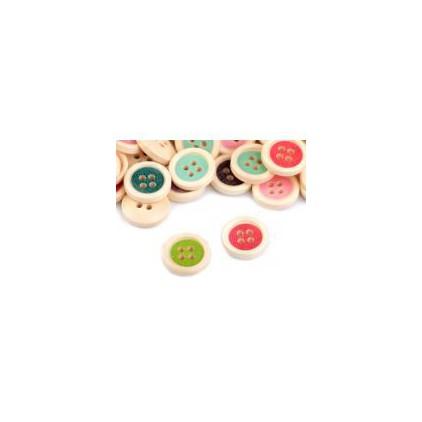 Guziki drewnaine - mix kolorów 03 - 12 sztuk