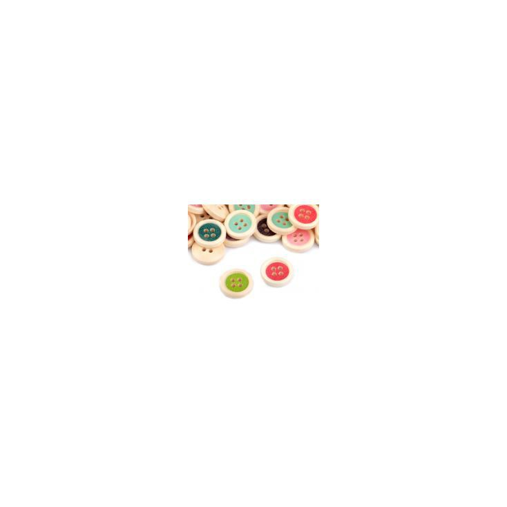 Wooden buttons -mix of colours - 12 pieces