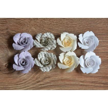 A set of paper flowers - mix of colours 93 - 8 pieces