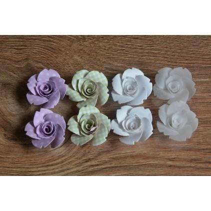Zestaw papierowych kwiatów - miks kolorów 95 - 8 sztuk