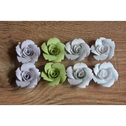 A set of paper flowers - mix of colours 96 - 8 pieces