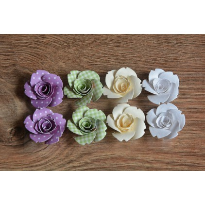 A set of paper flowers - mix of colours 97 - 8 pieces