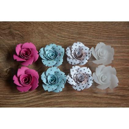A set of paper flowers - mix of colours 98 - 8 pieces