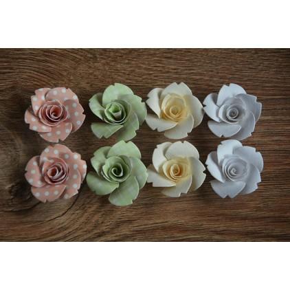 A set of paper flowers - mix of colours 103 - 8 pieces