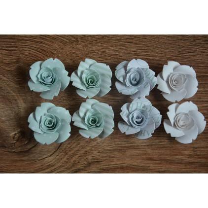 Zestaw papierowych kwiatów - miks kolorów 123 - 8 sztuk