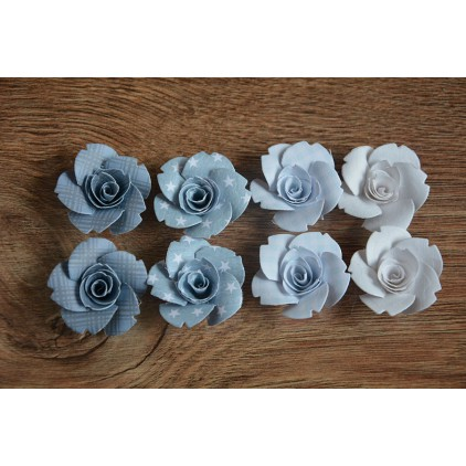 Zestaw papierowych kwiatów - miks kolorów 124 - 8 sztuk