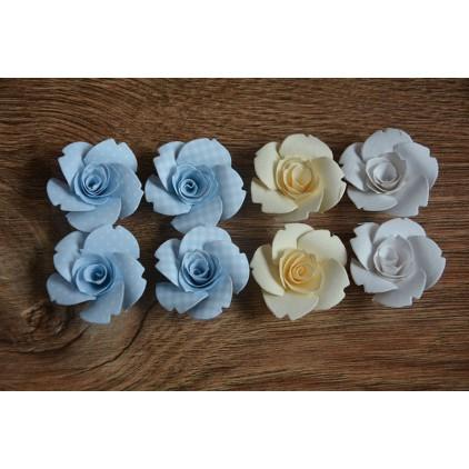 Zestaw papierowych kwiatów - miks kolorów 125 - 8 sztuk