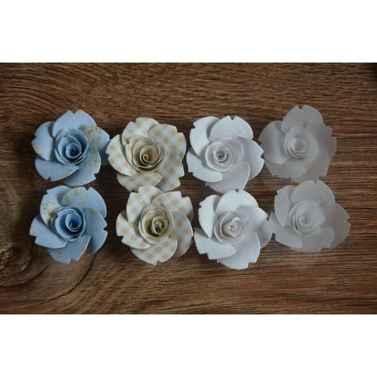 Zestaw papierowych kwiatów - miks kolorów 126 - 8 sztuk