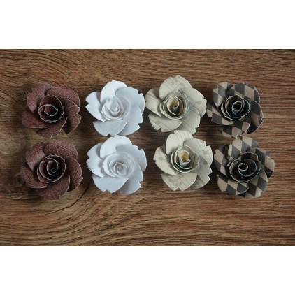 Zestaw papierowych kwiatów - miks kolorów 128 - 8 sztuk