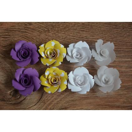 Zestaw papierowych kwiatów - miks kolorów 130 - 8 sztuk