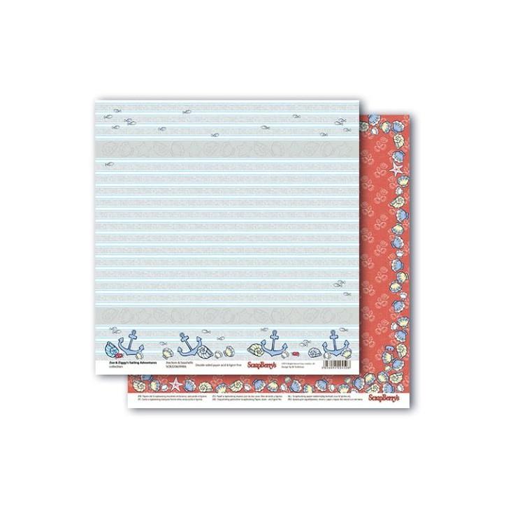 Scrapbooking paper - Zoe & Ziggy's Sailing Adventures - Anchors & Seashells - Scrapberry's