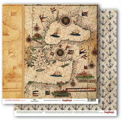 Papier do scrapbookingu – The Pirate's Treasure- Maps - Scrapberry's