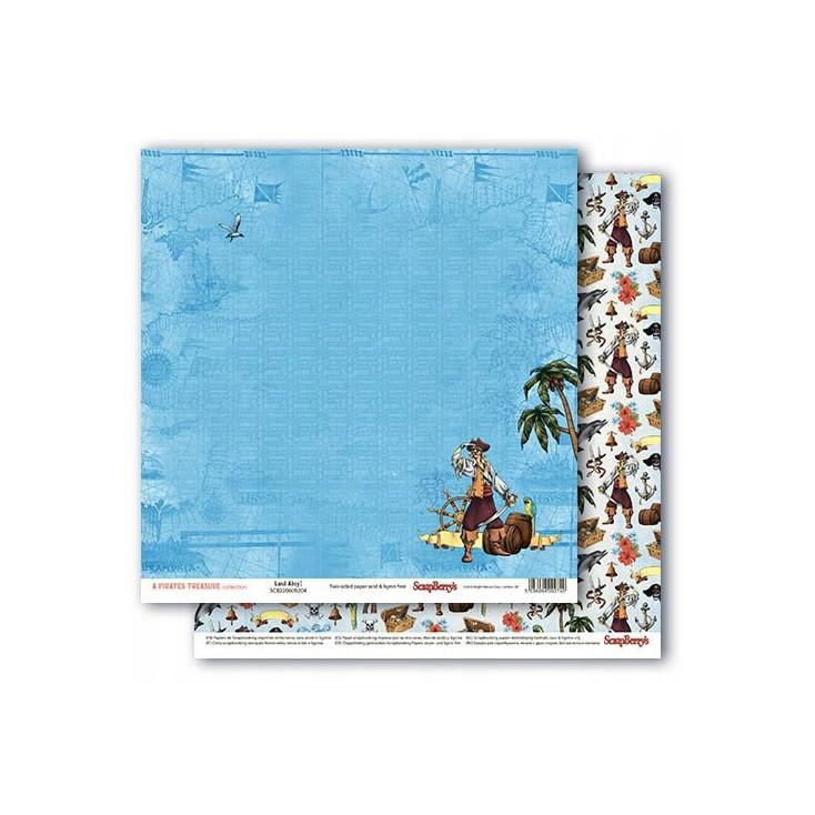 Scrapbooking paper - The Pirate's Treasure- Land Ahoy ! - Scrapberry's