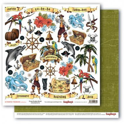 Papier do scrapbookingu – The Pirate's Treasure- Pirate Paradise - Scrapberry's