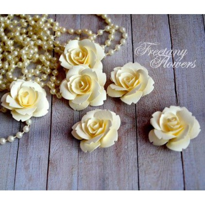 A set of paper flowers - cream - 160402 - 6 pieces