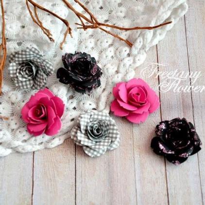 Zestaw papierowych kwiatów - miks kolorów 160405 - 6 sztuk