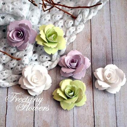 Zestaw papierowych kwiatów - miks kolorów 160406 - 6 sztuk
