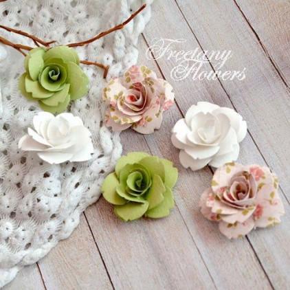 Zestaw papierowych kwiatów - miks kolorów 160407 - 6 sztuk