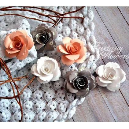 Zestaw papierowych kwiatów - miks kolorów 160408 - 6 sztuk