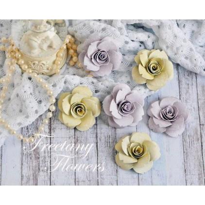 Zestaw papierowych kwiatów - miks kolorów 170442 - 6 sztuk