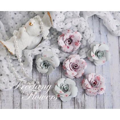 Zestaw papierowych kwiatów - miks kolorów 170445 - 6 sztuk