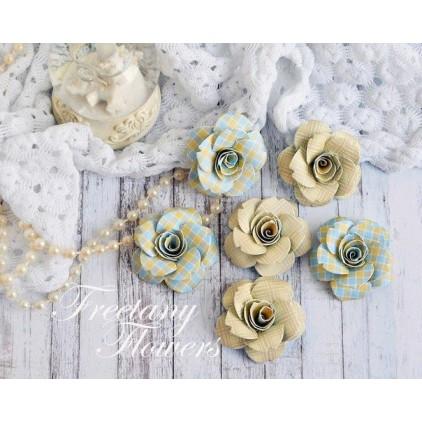 Zestaw papierowych kwiatów - miks kolorów 170450 - 6 sztuk
