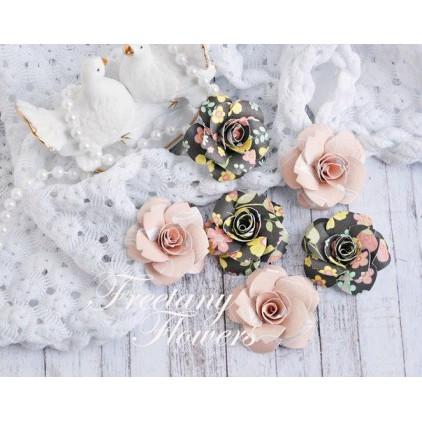 Zestaw papierowych kwiatów - miks kolorów 170454 - 6 sztuk