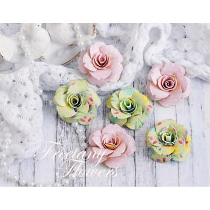 Zestaw papierowych kwiatów - miks kolorów 170456 - 6 sztuk