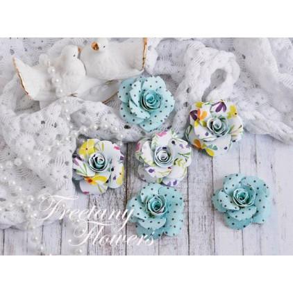 Zestaw papierowych kwiatów - miks kolorów 170457- 6 sztuk