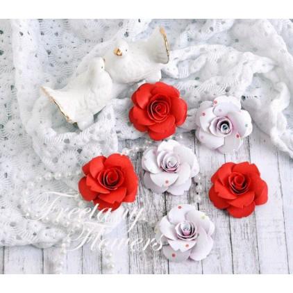 Zestaw papierowych kwiatów - miks kolorów 170459 - 6 sztuk