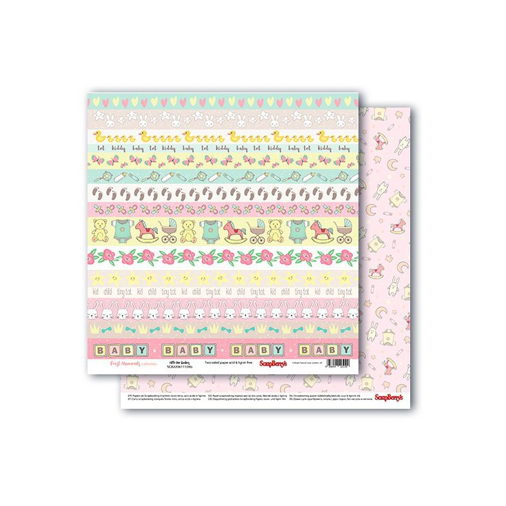 Scrapbooking paper - First Moments - Little one borders - Scrapberry's