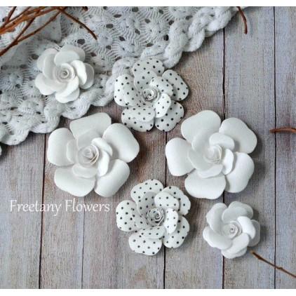 Zestaw papierowych kwiatów - miks kolorów 160811 - 6 sztuk
