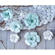 Zestaw papierowych kwiatów - miks kolorów 160815 - 6 sztuk