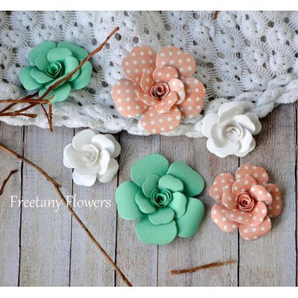 Zestaw papierowych kwiatów - miks kolorów 160816 - 6 sztuk