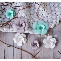 Zestaw papierowych kwiatów - miks kolorów 160817 - 6 sztuk