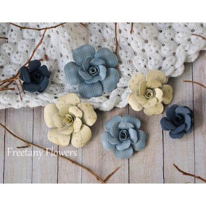 Zestaw papierowych kwiatów - miks kolorów 160818 - 6 sztuk