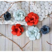 Zestaw papierowych kwiatów - miks kolorów 160819 - 6 sztuk