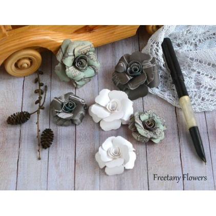 Zestaw papierowych kwiatów - miks kolorów 170123 - 6 sztuk