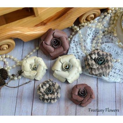 Zestaw papierowych kwiatów - miks kolorów 170124 - 6 sztuk