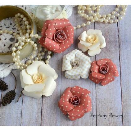 Zestaw papierowych kwiatów - miks kolorów 170125 - 6 sztuk